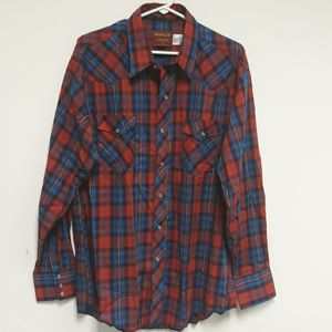 Rustler x-long tails plaid western shirt